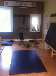 The clubhouse is being used as a gym this off season