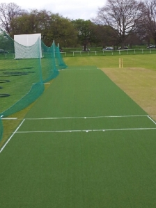 The new artificial wicket.