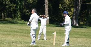 Aidan eyes up the long off boundary